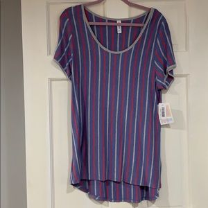 LuLaRoe striped Classic T shirt XL NWT